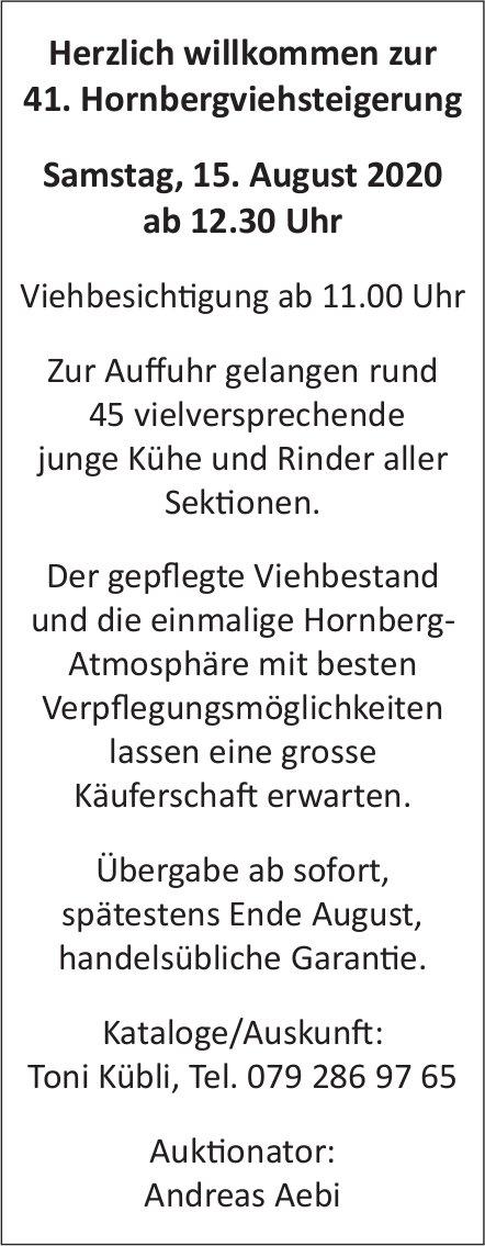 Herzlich willkommen zur 41. Hornbergviehsteigerung am 15. August 2020 ab 12.30 Uhr