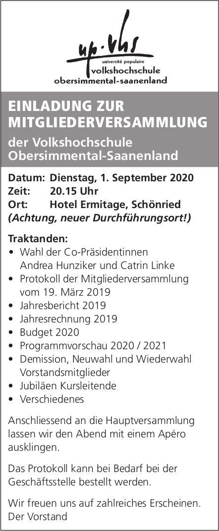 Einladung zur Mitgliederversammlung, 1. September