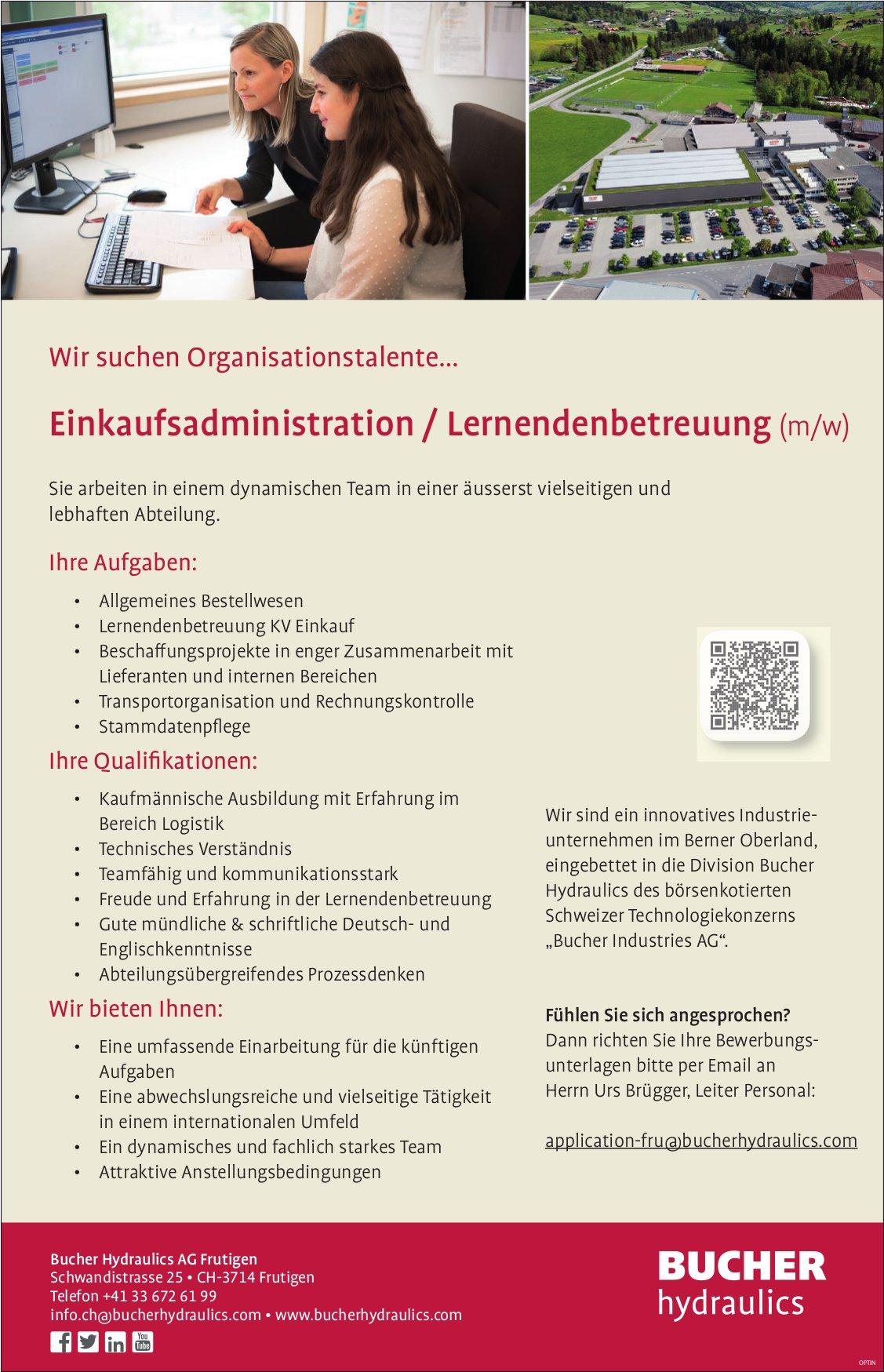Einkaufsadministration/Lernendenbetreuung (m/w), Bucher Hydraulics AG, Frutigen, gesucht