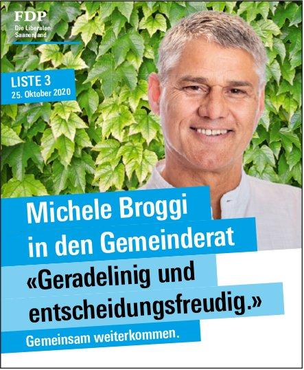 FDP Die Liberalen Saanenland, Michele Broggi in den Gemeinderat <<Geradelinig und entscheidungsfreudig.>>  Gemeinsan weiterkommen