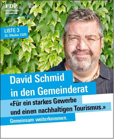 FDP Die Liberalen Saanenland, David Schmid in den Gemeinderat <<Für ein starkes Gewerbe und einen nachhaltingen Tourismus.>> Gemeinsam weiterkommen