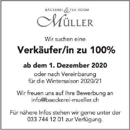 Verkäufer/in zu 100%, Bäckerei & Tea-Room Müller, gesucht