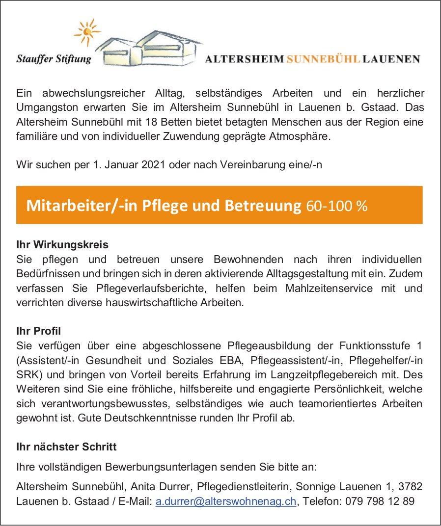 Mitarbeiter/-in Pflege und Betreuung 60-100%, Altersheim Sunnebühl, Lauenen b. Gstaad, gesucht