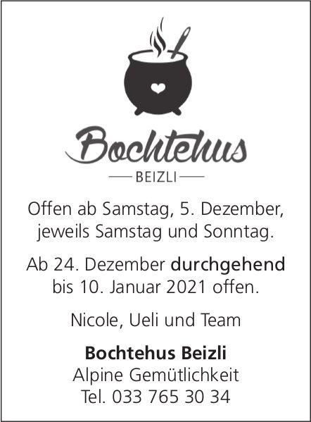 Bochtehus Beizli - Offen ab 5. Dezember jeweils Samstag und Sonntag