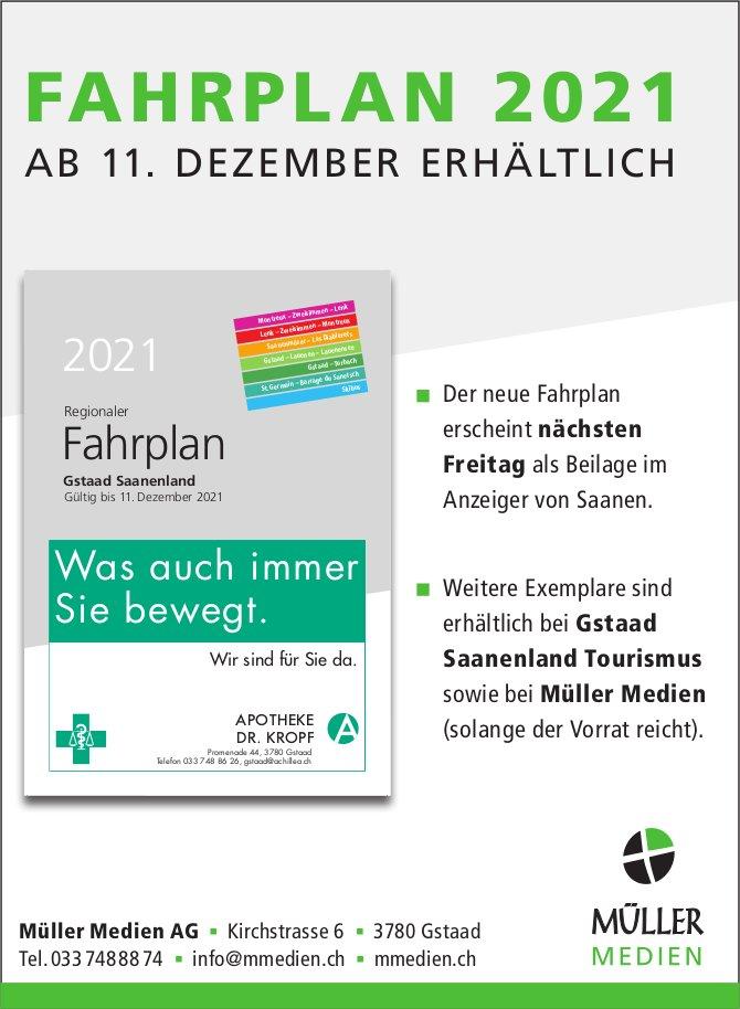 Müller Medien AG, Gstaad - Fahrplan 2021, ab 11. Dezember erhältlich