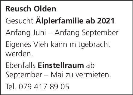 Älplerfamilie ab 2021, Reusch Olden, gesucht