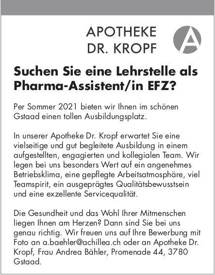 Lehrstelle als Pharma-Assistent/in EFZ, Apotheke Dr. Kropf, Gstaad, zu vergeben