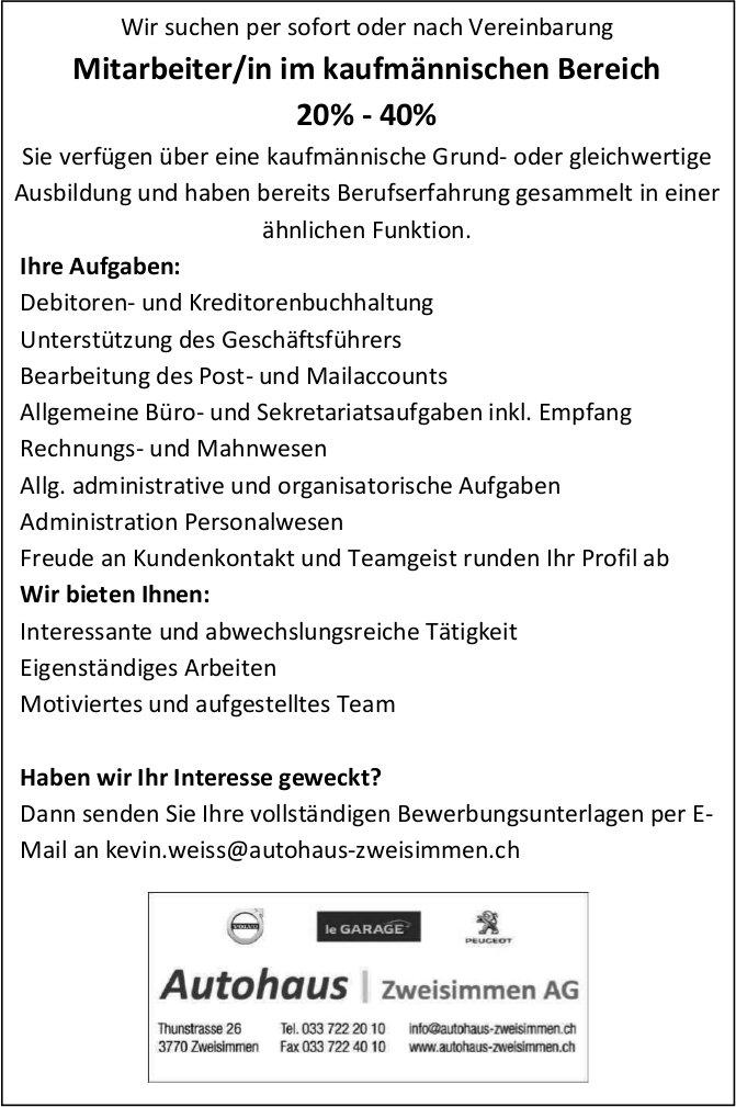 Mitarbeiter/in im kaufmännischen Bereich 20% - 40%, Autohaus Zweisimmen AG, gesucht