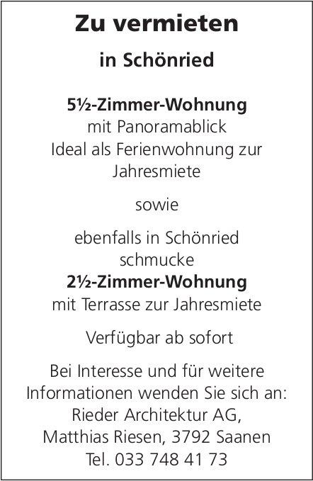 2.5- und 5.5-Zimmer-Wohnung, Schönried, zu vermieten