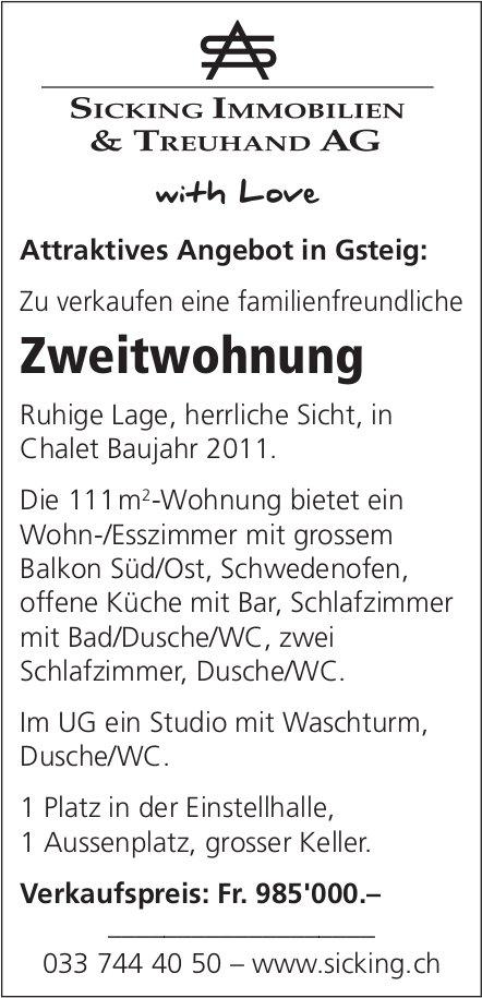 Zweitwohnung, Gsteig bei Gstaad, zu verkaufen