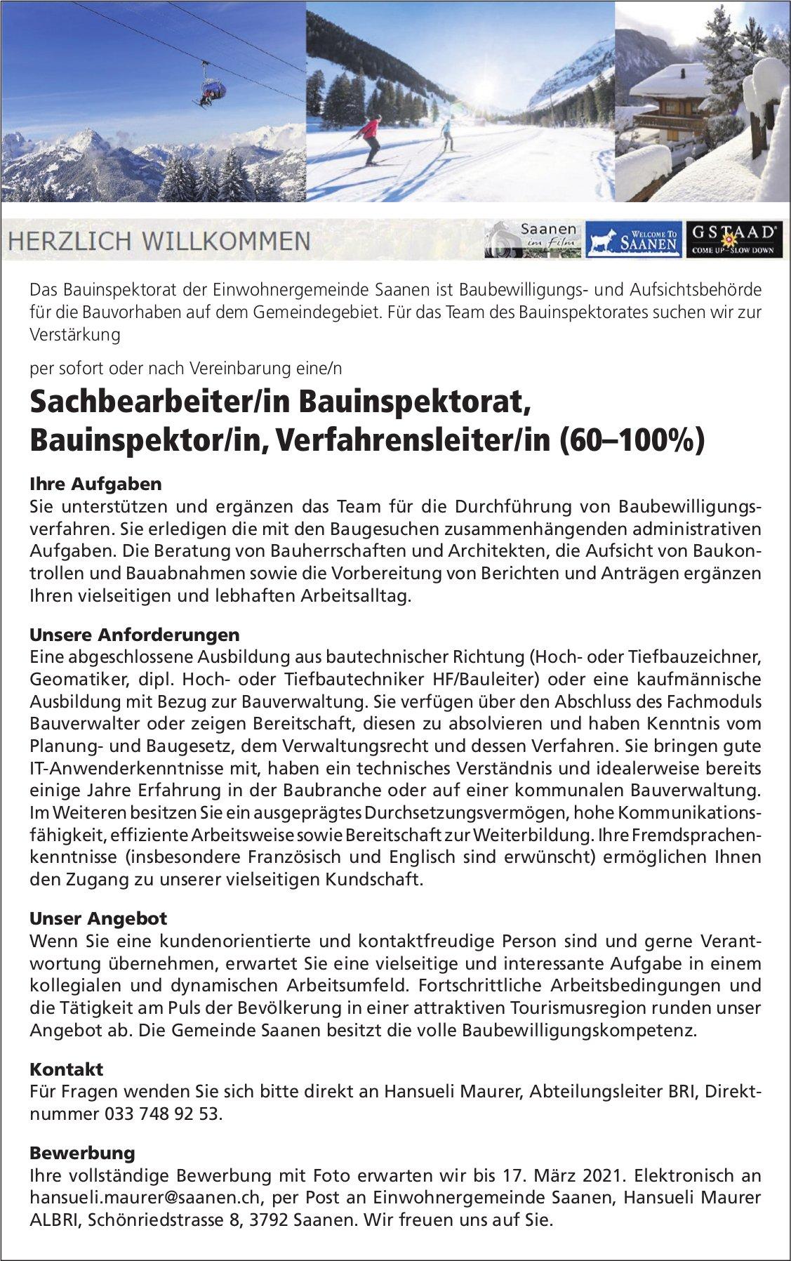 Sachbearbeiter/in Bauinspektorat, Bauinspektor/in,  Verfahrensleiter/in (60–100%), Gemeinde, Saanen, gesucht