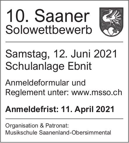 10. Saaner Solowettbewerb, 12. Juni, Schulanlage Ebnit, Saanen