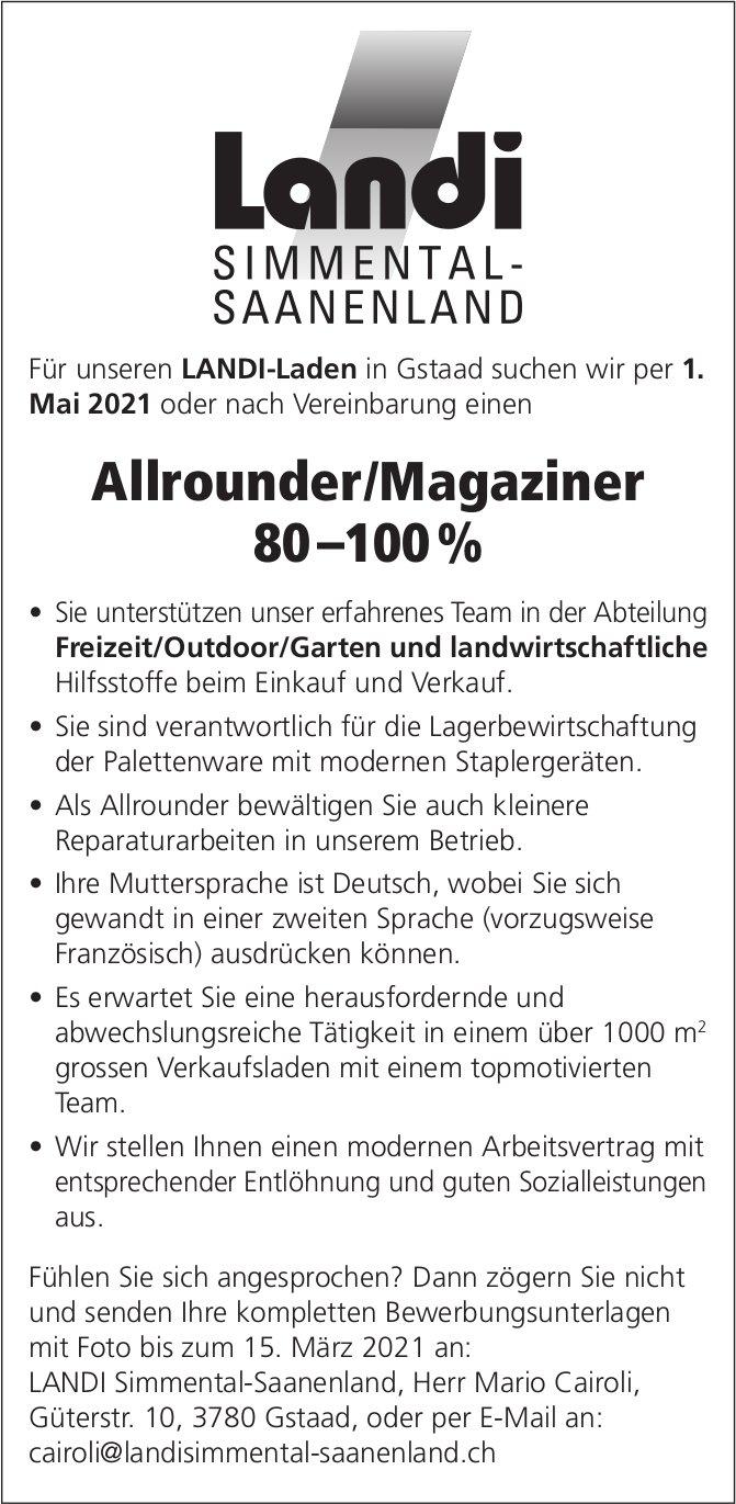 Allrounder/Magaziner 80 –100%, Landi Simmental-Saanenland, Gstaad, gesucht