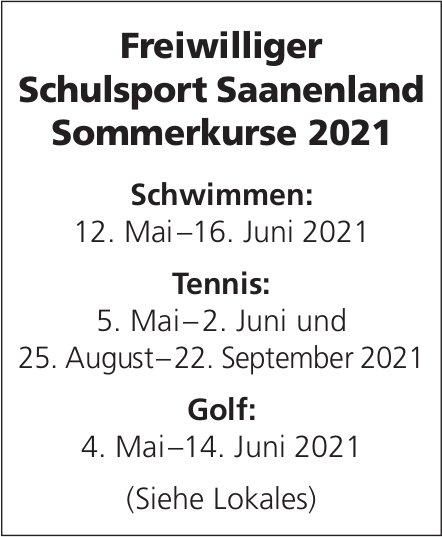 Freiwilliger Schulsport Saanenland Sommerkurse 2021, 12. Mai - 22. September
