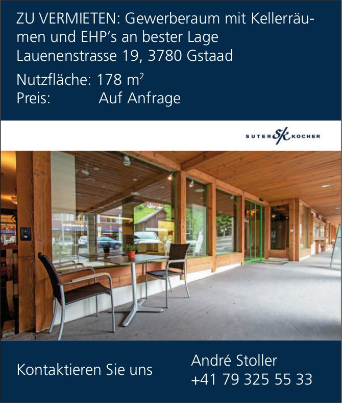 Gewerberaum mit Kellerräumen und EHP's, Gstaad, zu vermieten