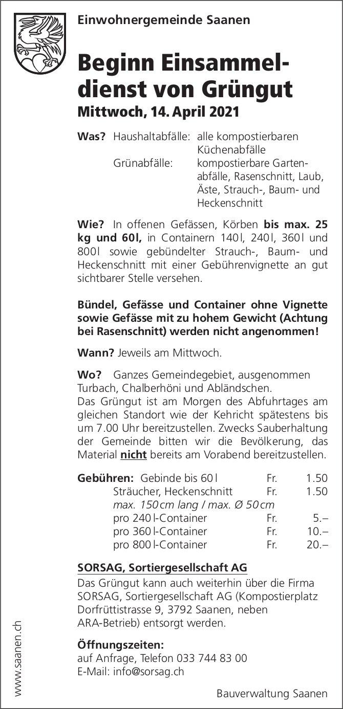 Beginn Einsammeldienst von Grüngut, 14. April, Einwohnergemeinde Saanen