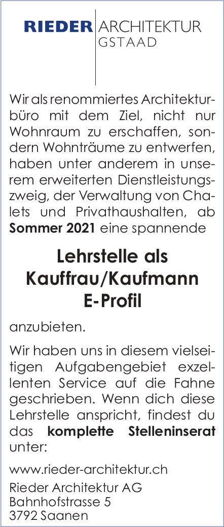 Lehrstelle als Kauffrau/Kaufmann E-Profil, Rieder Architektur AG, Saanen, zu vergeben