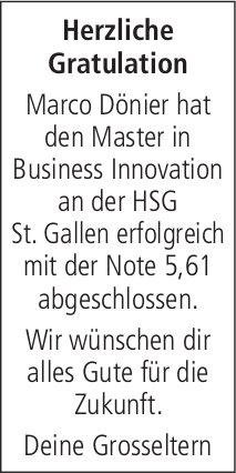 Herzliche Gratulation - Marco Dönier hat den Master in Business Innovation erfolgreich abgeschlossen