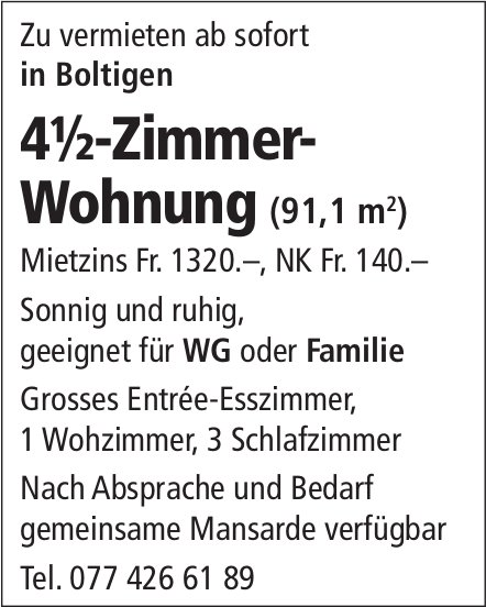 4.5-Zimmer-Wohnung, Boltigen, zu vermieten