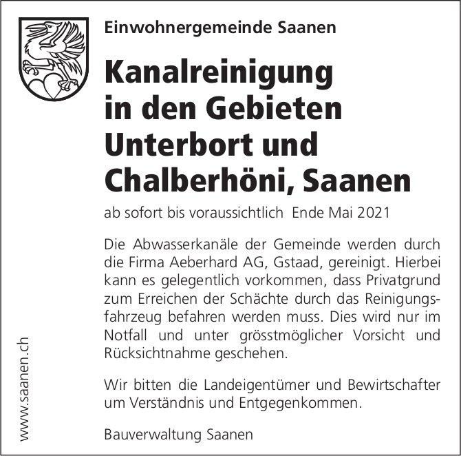 Kanalreinigung in den Gebieten Unterbort und Chalberhöni, Saanen