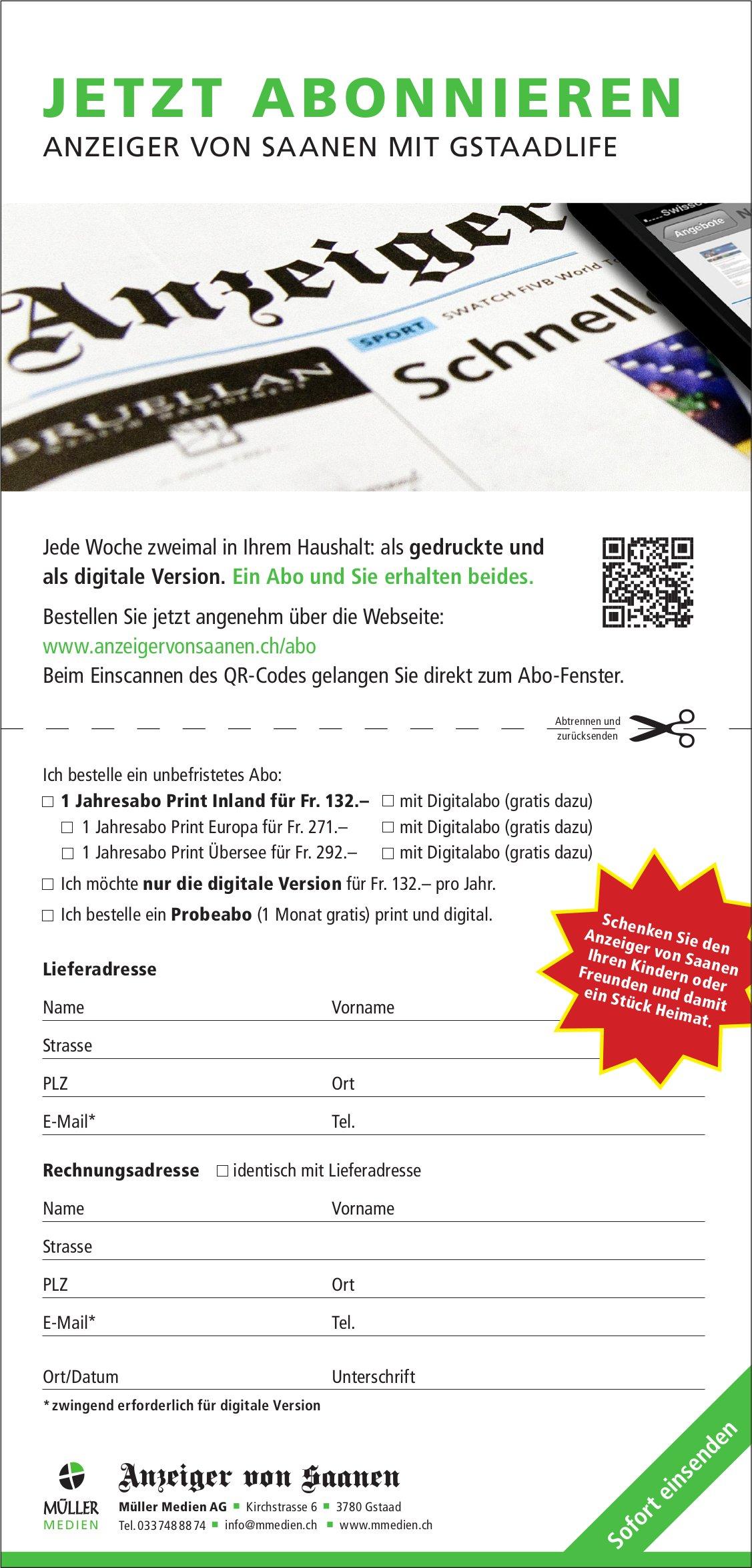 Anzeiger von Saanen mit Gstaadlife - Jetzt abonnieren