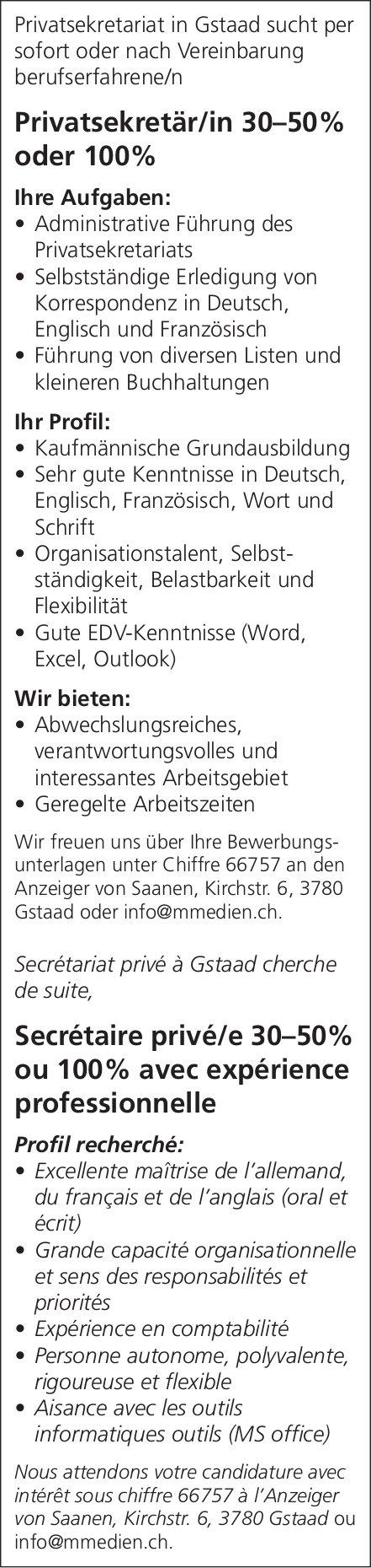 Privatsekretär/in 30–50% oder 100%, Privatsekretariat, Gstaad, gesucht