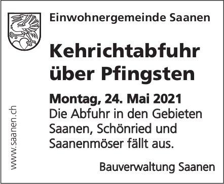 Saanen - Kehrichtabfuhr über Pfingsten, 24. Mai