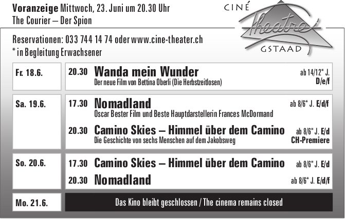 Kinoprogramm, 18. - 20. Juni, Ciné Theatre, Gstaad