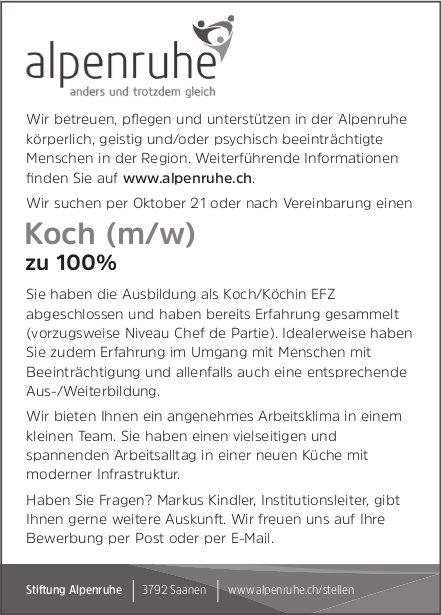 Koch (m/w) 100%, Stiftung Alpenruhe, Saanen, gesucht