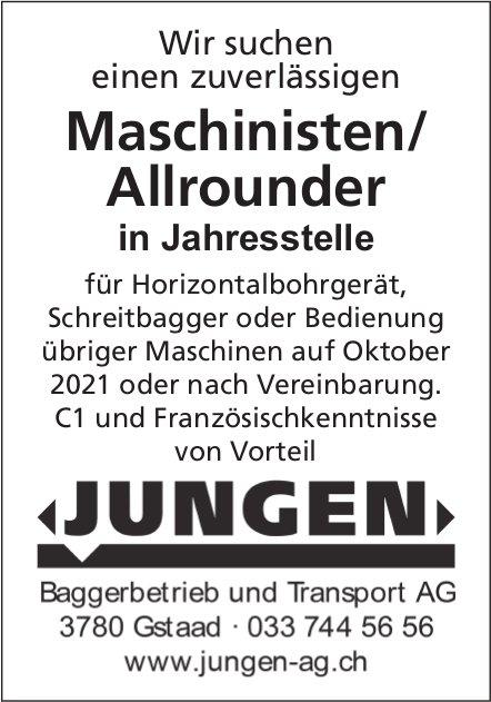 Maschinist / Allrounder, Baggerbetrieb Transport AG Jungen, Gstaad, gesucht