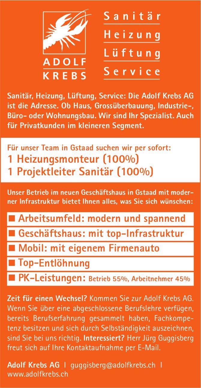 Heizungsmonteur (100%) & Projektleiter Sanitär (100%), Adolf Krebs AG, Gstaad, gesucht