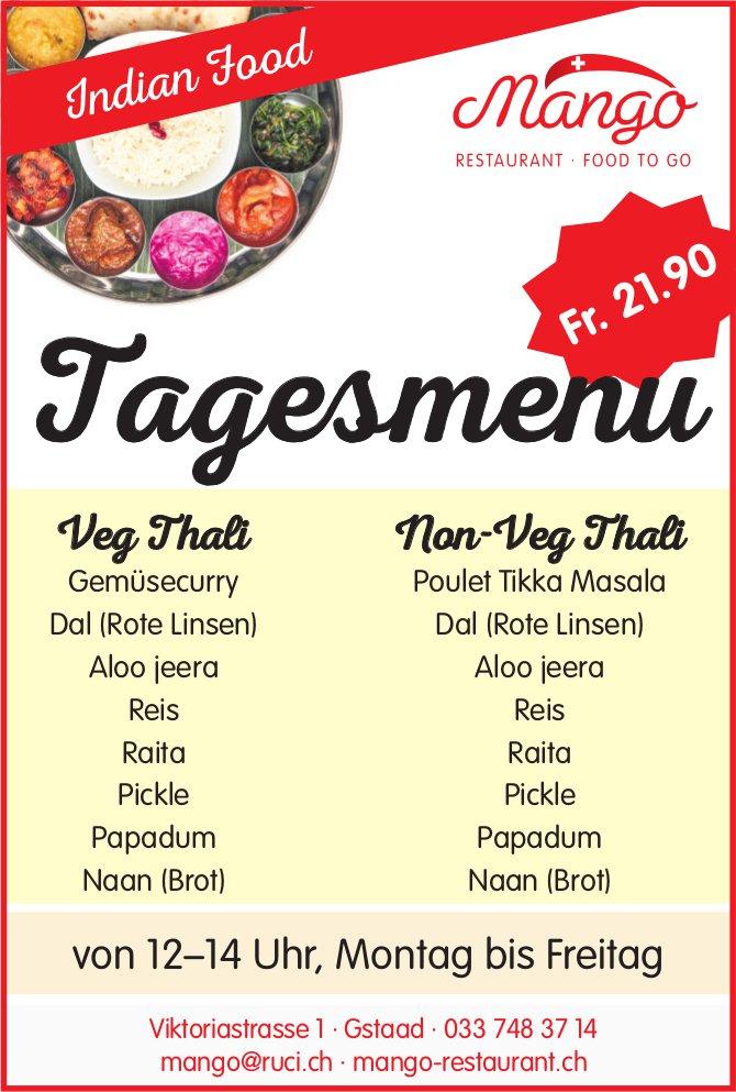 Mango Restaurant, Gstaad - Tagesmenu Veg Thali & Non-Veg Thali