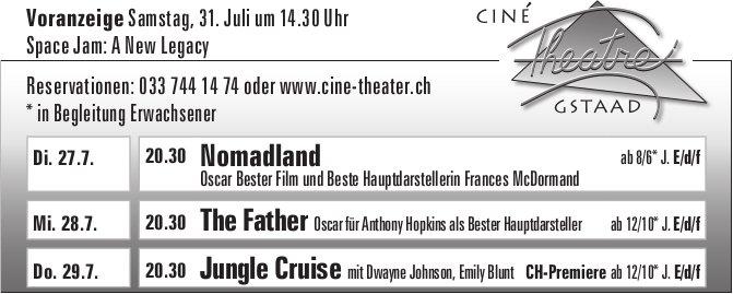 Kinoprogramm, 27. - 29. Juli, Ciné Theatre, Gstaad