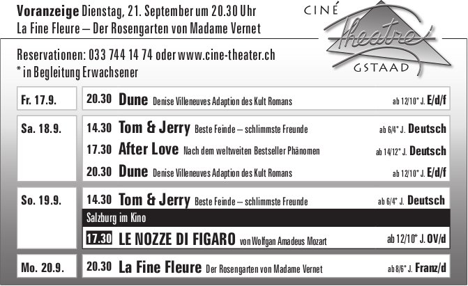Kinoprogramm, 17. - 20. September, Ciné Theatre, Gstaad