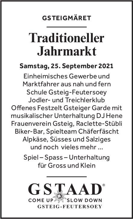 Traditioneller Jahrmarkt - Gsteigmäret, 25. September, Gsteig