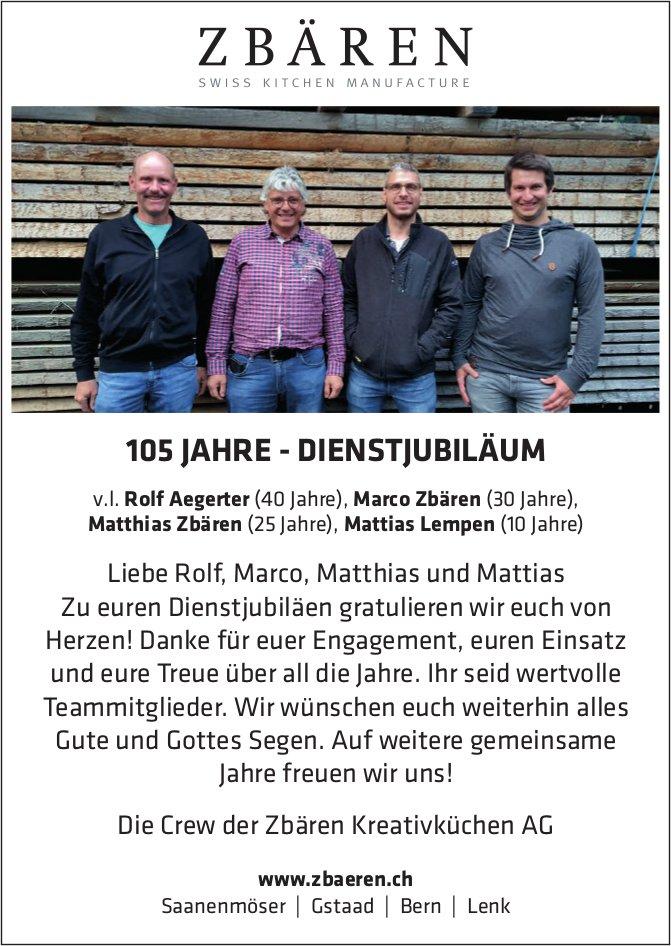105 Jahre-Dienstjubiläum - Liebe Rolf, Marco,  Matthias und Mattias - zu euren Dienstjubiläen gratulieren wir euch von Herzen!