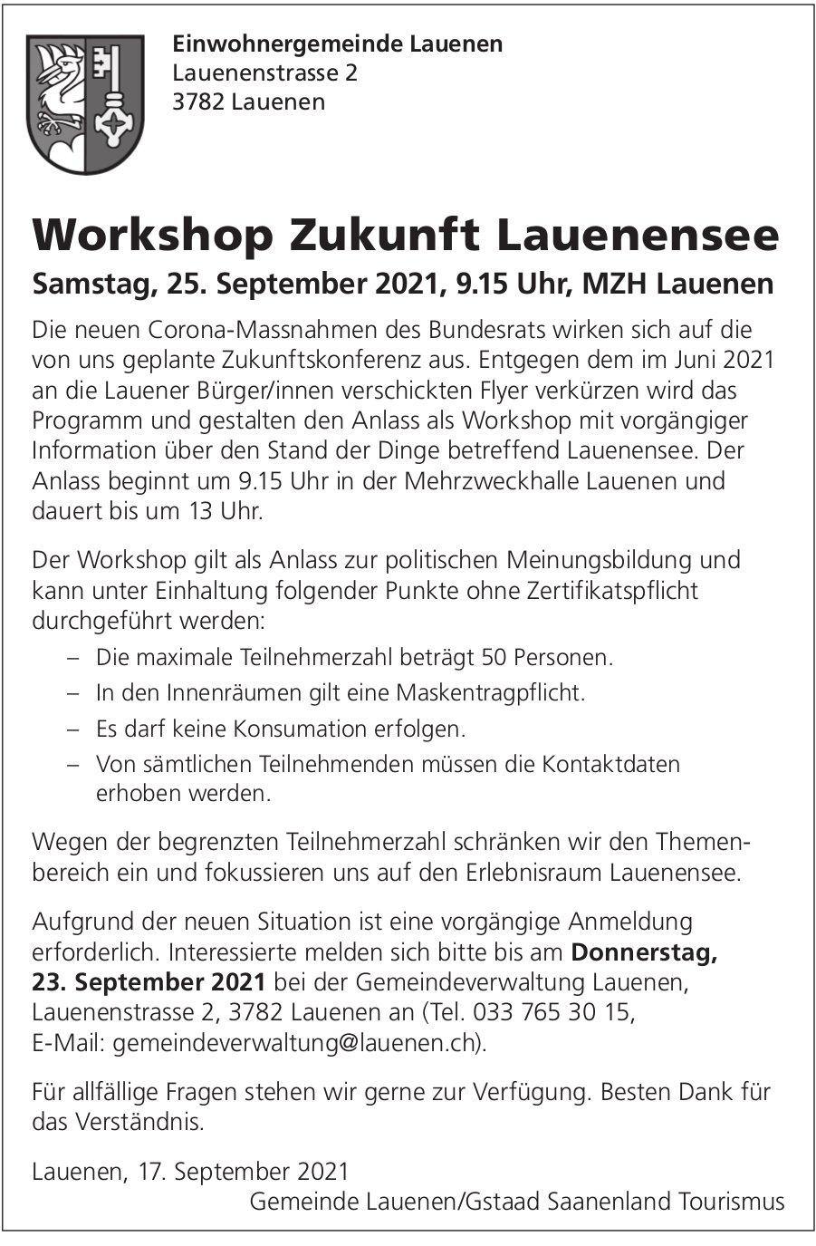 Workshop Zukunft Lauenensee, 25. September, MZH, Lauenen