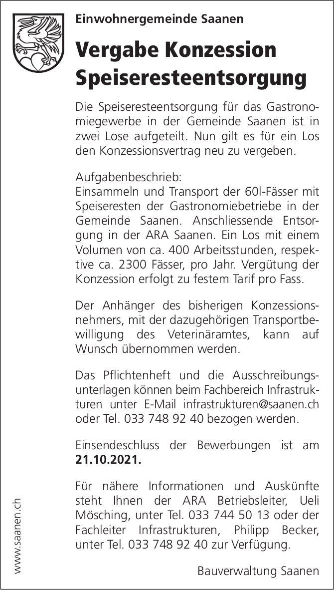 Gemeinde Saanen - Vergabe Konzession Speiseresteentsorgung