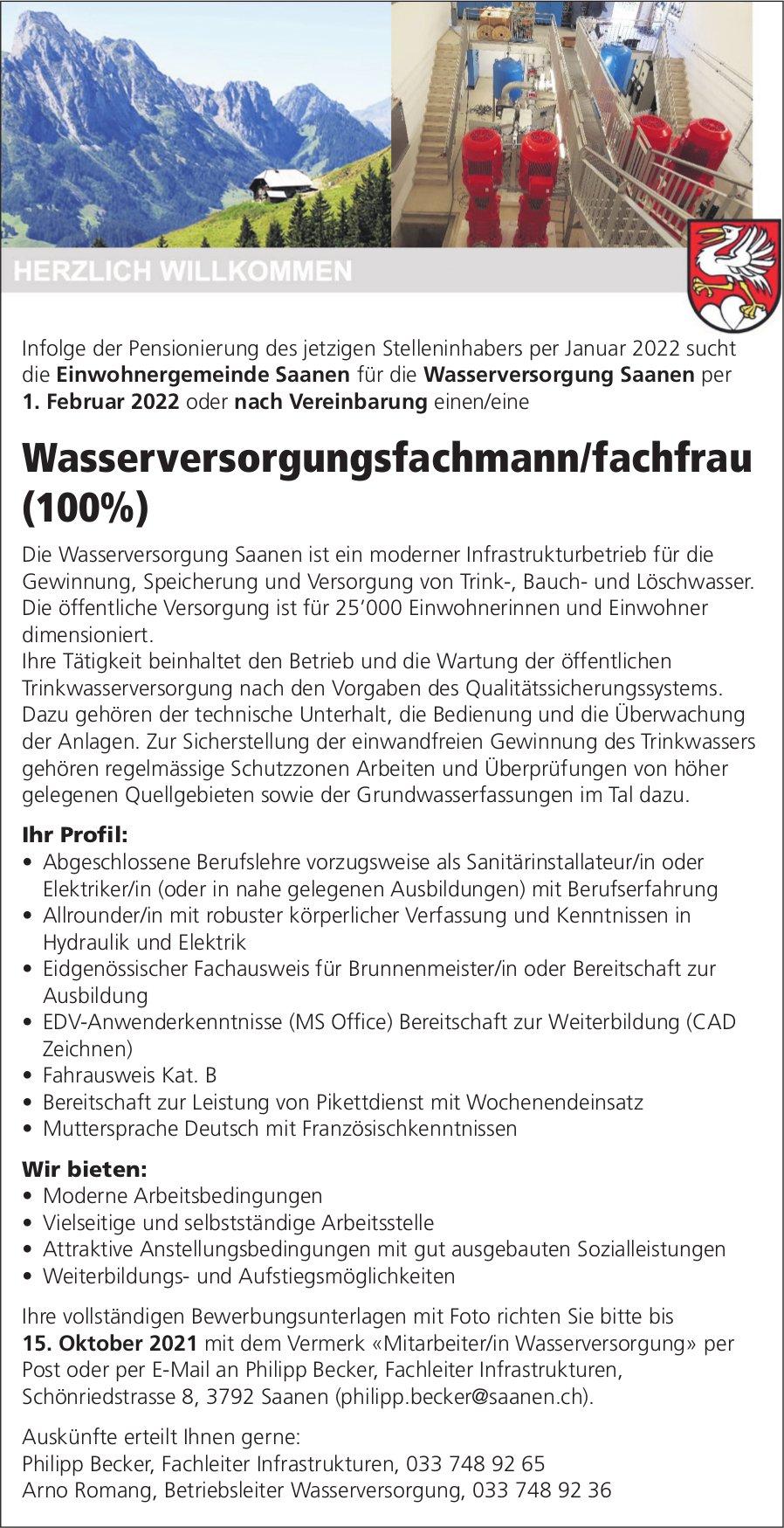 Wasserversorgungsfachmann/fachfrau (100%), Gemeinde, Saanen, gesucht
