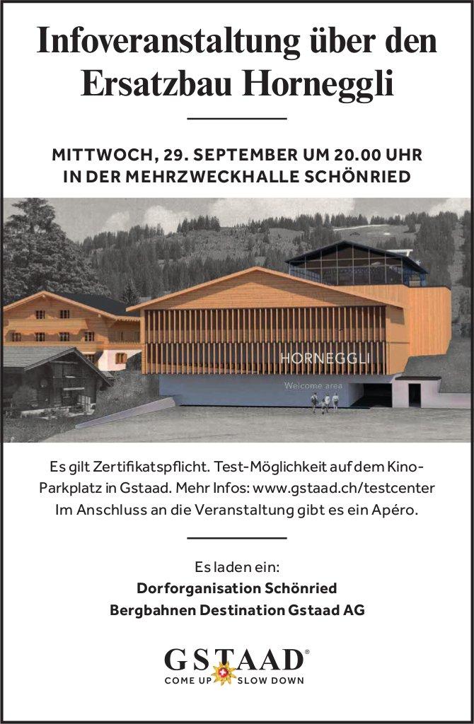 Infoveranstaltung über den Ersatzbau Horneggli, 29. September, MZH, Schönried