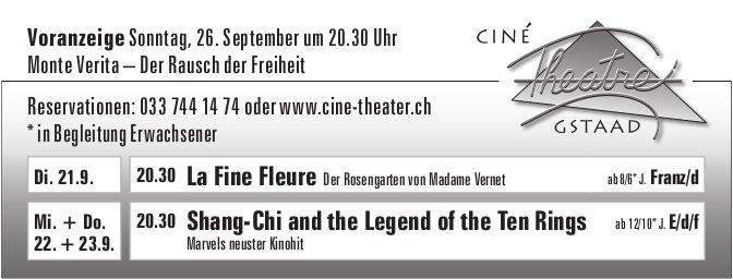 Kinoprogramm, 21. - 23. September, Ciné Theatre, Gstaad