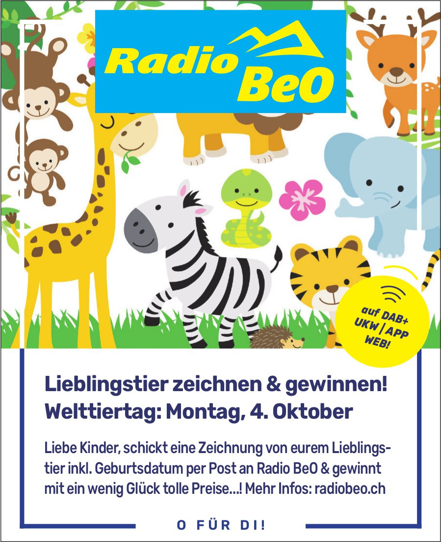 Welttiertag: Lieblingstier zeichnen & gewinnen!, 4. Oktober, Radio BeO