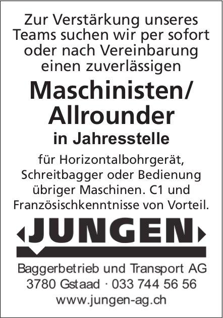 Maschinisten / Allrounder, Baggerbetrieb Transport AG Jungen, Gstaad, gesucht