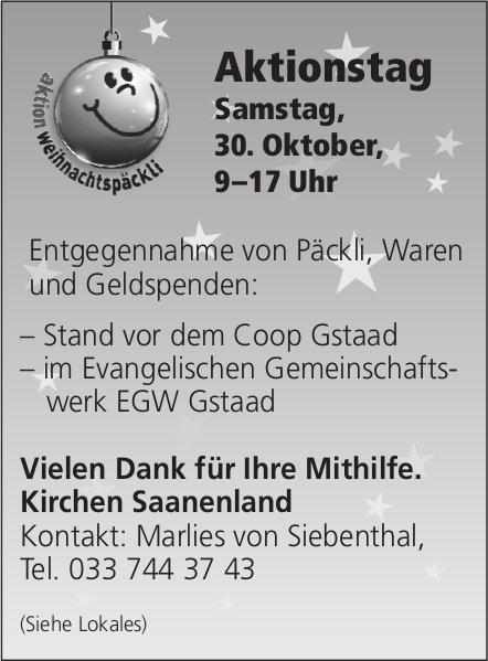 Aktionstag Weihnachtspäckli, 30. Oktober, Gstaad