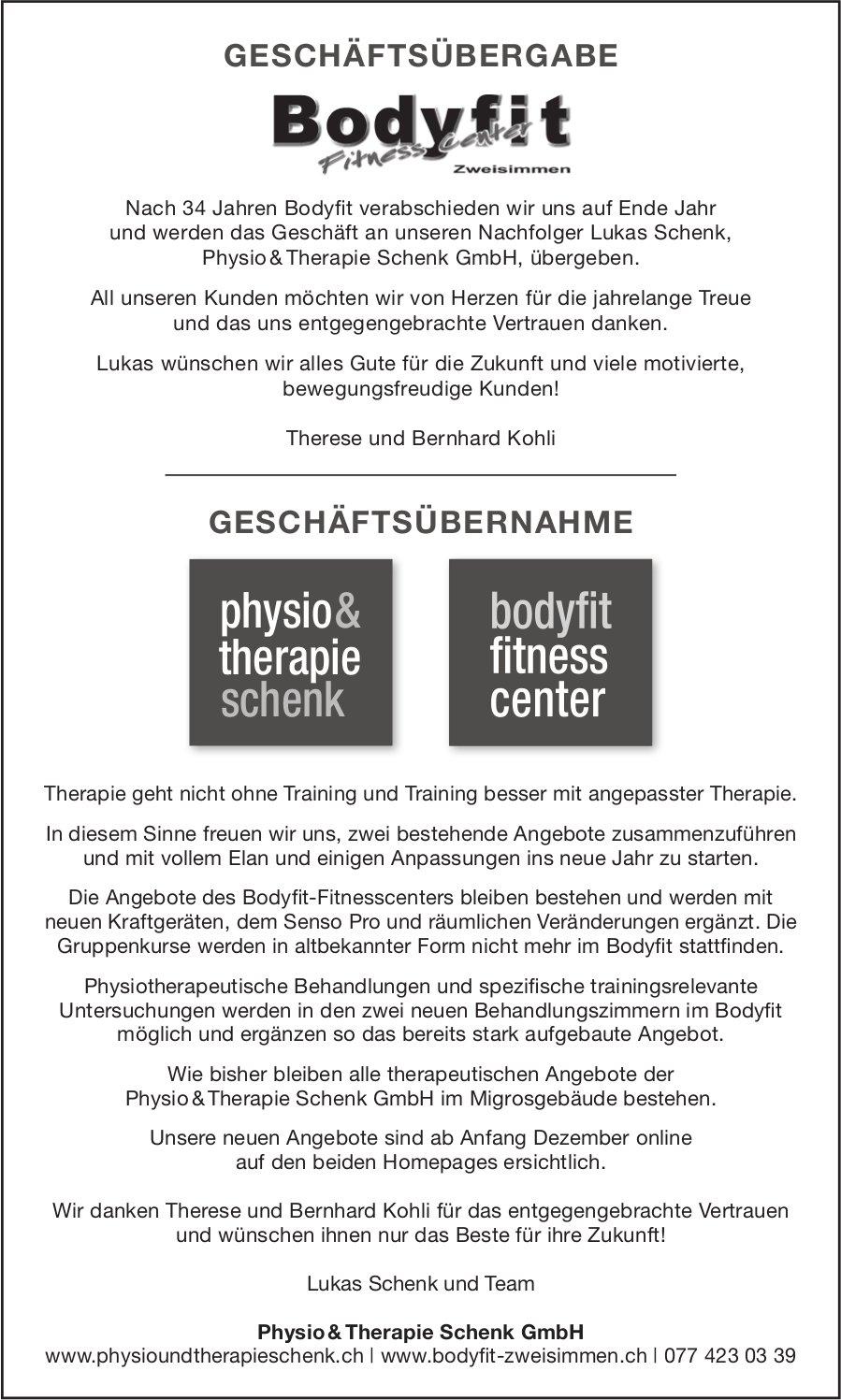 Physio & Therapie Schenk GmbH, Zweisimmen - Geschäftsübergabe Bodyfit Fitness Center