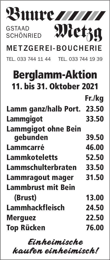 Buure Metzg, Gstaad-Schönried - Berglamm-Aktion