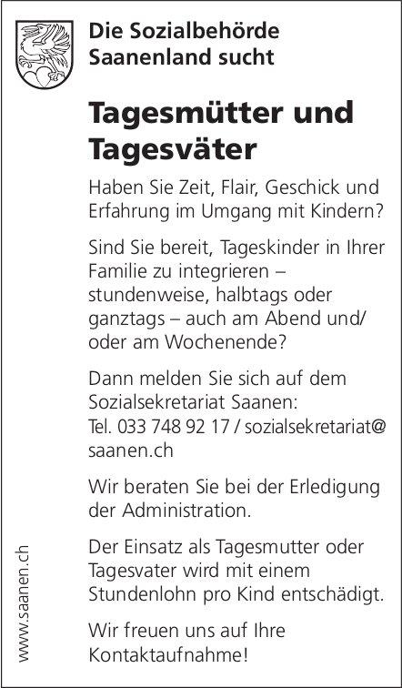 Tagesmütter und Tagesväter, Sozialbehörde Saanenland, gesucht