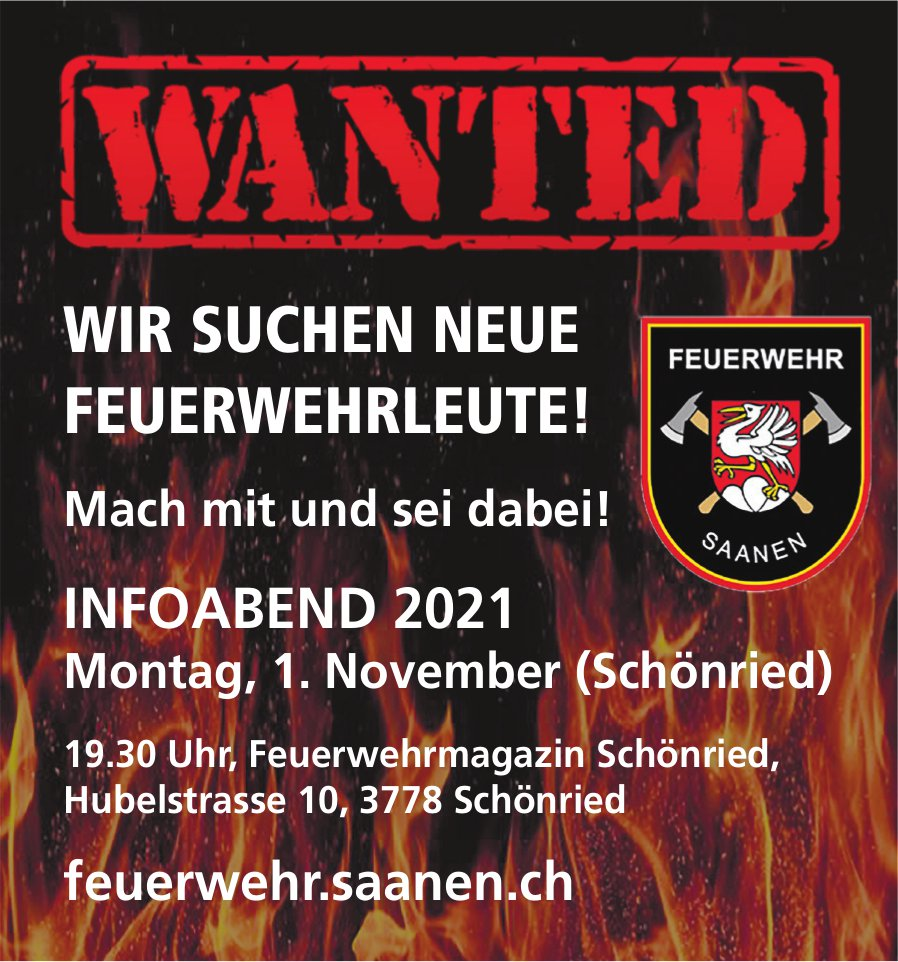 Infoabend 2021 - Wir suchen neue Feuerwehrleute!, 1. November, Feuerwehrmagazin, Schönried