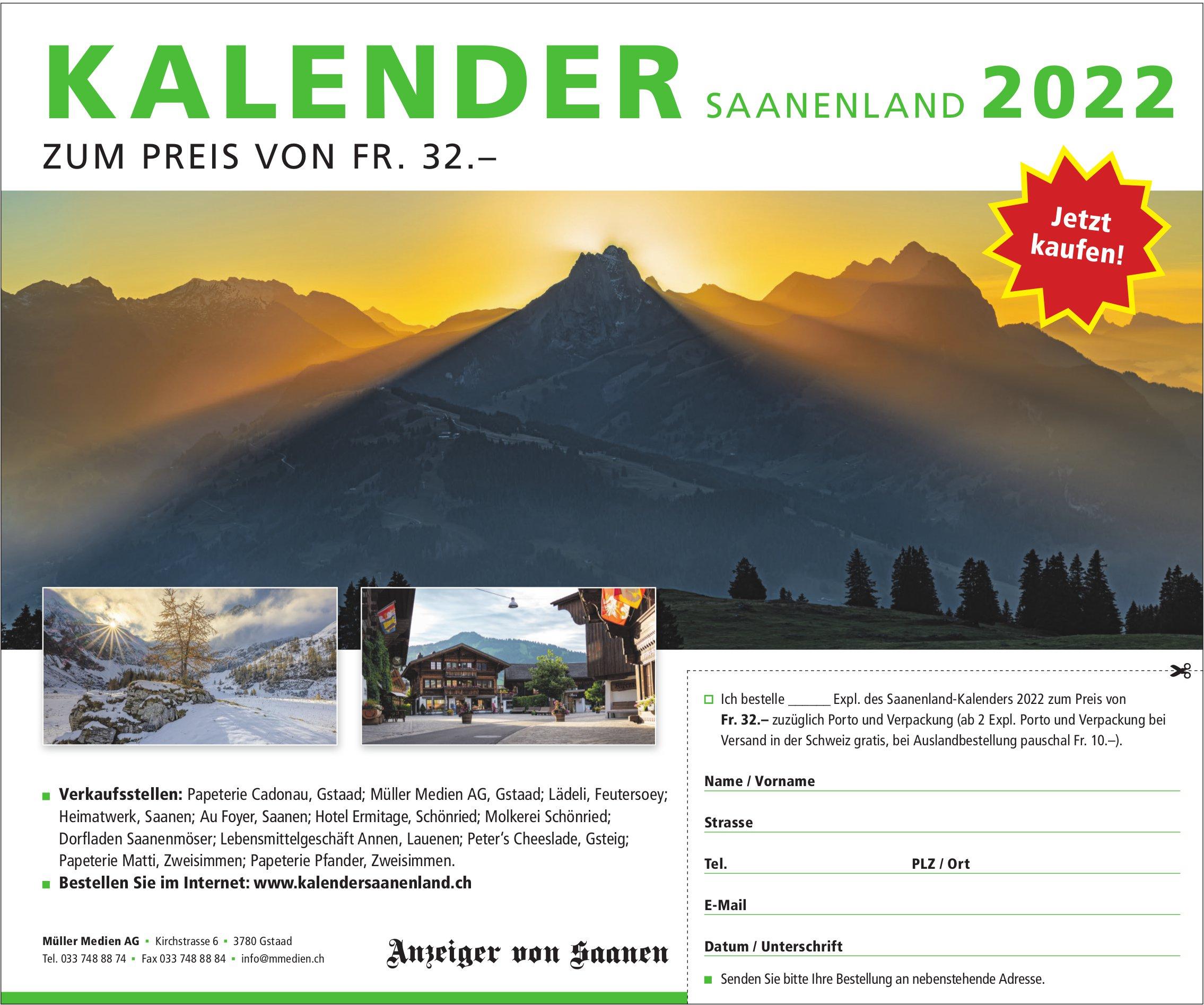 Anzeiger von Saanen, Gstaad - Kalender Saanenland 2022