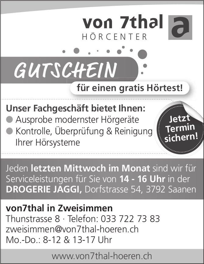 Von7thal Hörcenter, Zweisimmen - Gutschein für einen gratis Hörtest!